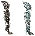 Fashion sexy summer gladiator sandals! New style butterfly high heel women boots! Brand lace up thigh high boots!