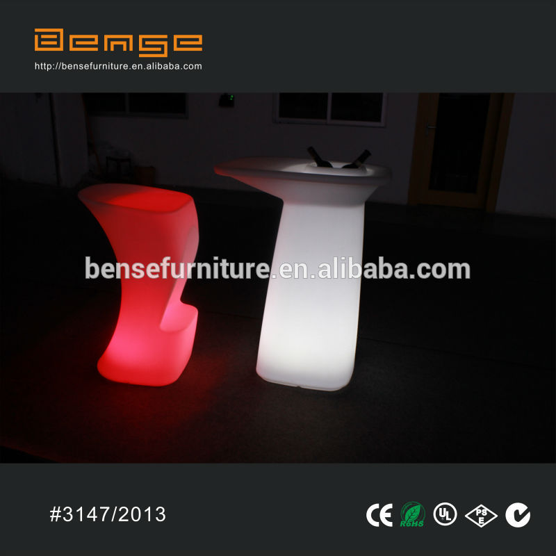 Smooth new Moulding LED high bar table as led furniture