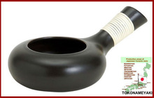 Black potter's ware for parching W-104 made in Japan heat resistant ceramic ware roast green tea leaf, coffee beans , peanut