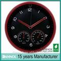 la decoración del hogar moderno 12 pulgadas de cuarzo de plástico reloj de pared thermohygrograph