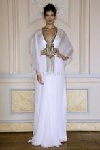 Fashion White A Line V-Neck Long Sleeve Sequined Floor Length Chiffon Zuhair Murad 2014 Turkish Evening Dresses