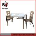 中国modern安い金属ガラスのダイニングテーブルセット販売のための