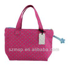 cotton full dot printing handbag mini rubber floral puller shopping bag/woman mini handbag