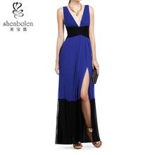 elegant dresses side pleated long hem deep v neckline sleeveless color combination for blue dress