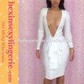 2014 novos barato manga longa branco vestido bandage