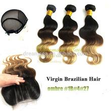 3 Tone Color Ombre Hair Brazilian Virgin Hair Bundles With Lace Closure