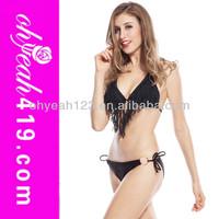 2014 New fashion hot girl sexy black fringe bikini