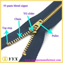 Baratos #3#5#8 metal zipper de bronze yg zíper de metal para calça jaqueta de zíper de metal