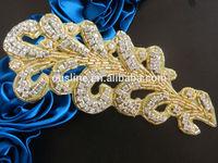 Rhinestone feather applique pair, beaded crystal applique, rhinestone applique for bridal sash