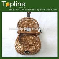 wholesale cheap handmade wicker fishing creel basket made in china