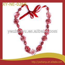 fashion multi shape strung crackle red rope charm elegant necklace