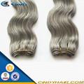 Grado 7a raw sin procesar remy del 100% natural gris de la onda del pelo de la armadura de plata 100 extensiones de cabello humano brasileño