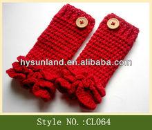 CL064 wavy ruffle girls leg warmer with button
