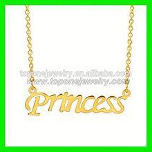 2015 latest custom design necklace initial princess pendant necklace