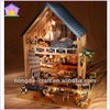 2014 New Arrival Large-scale Luxury wooden toy DIY doll House with Light