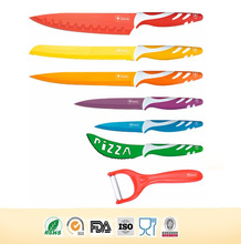 Swiss line kitchen 7pcs colorful non-stick coating Knife set