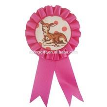 Red Handmade Embroidery Customized Award Ribbon Rosette