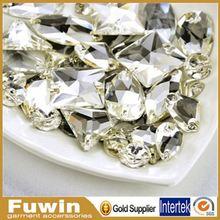 Fuwin flat back crystal acrylic sew on rhinestones 40mm