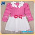 ( h4856) 2-6y fúcsia manga longa menina vestidos de festainfantil algodão moda vestido de princesa para as meninas