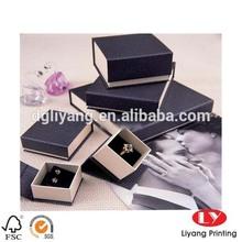 custom printed black high quality cardboard jewelry Gift Box for ring