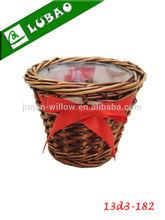 Wicker flower baskets wholesale cheap handmade brown small lined gardening wicker flower baskets