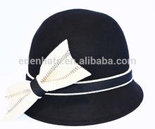 Guangzhou wholesale wool felt cloche hat with big stitching bow