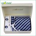 100% corbata de poliéster tejido con caja de regalo