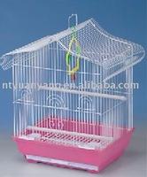 white folding metal bird cage house