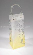 PVC tube handle carrier bag/promotional wine bottle bag