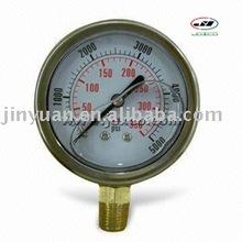 SS case brass bottom steam boiler pressure gauge