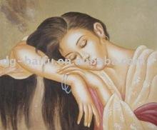 Handpainted sleeping lady figures oil painting