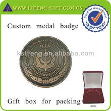 Custom Logo Metal Medal Badge Antique copper color
