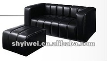 High Quality Used Leather Sofa in Black PU Leather for Living Room Furniture