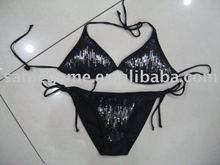 sexy women and girl Brazilian black string halter bikini