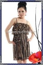 Ladies ruffle print cocktail dress
