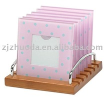 MDF holder pink glass photo inster coasters