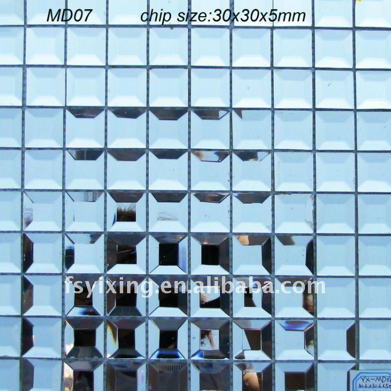 """Azulejos Para Baño De Cristal:18 """" azul biselado azulejos de mosaico de vidrio MD07 para baño"""