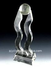 unique sports decoration water cut art crystal trophy