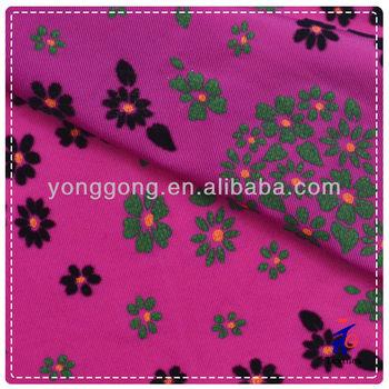 black pink nylon spandex floral flock fabric