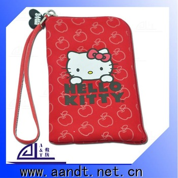 Latest cute leather Mobile Phone Case/Bag with Zipper and Carrying Strap