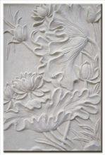 Water lily beige sandstone wall art
