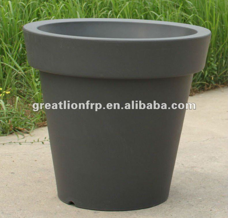 gr02116 xxl taille 1 m ext rieure en plastique pot de fleur gros plantes de terrasse pot gris. Black Bedroom Furniture Sets. Home Design Ideas