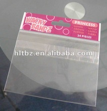 self-adhensive bopp header bag with eurohole/clear plastic bag