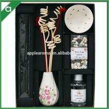 Black fashion design ceramic aroma reed diffuser with stones bag gift set