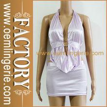 Tie Strap Cross Back Deep V Adorn Waist Mini Club Sexy Backless Dress