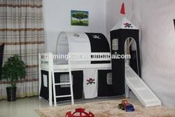 new design kid's wooden loft bed with tent set