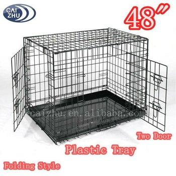 "Black Suitcase 48"" Folding Wire XXL Dog Crate"