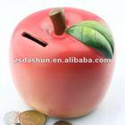 2014 red apple resin piggy bank,money box 0614 art collector craft gift souvenir