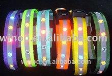 Best quality nylon dog collar decorations with rhinestone flashing light alibaba express