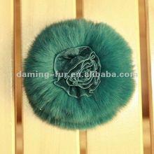 2012 New Design Green Rex Rabbit Fur Flower With Silk Lace Flower Center
